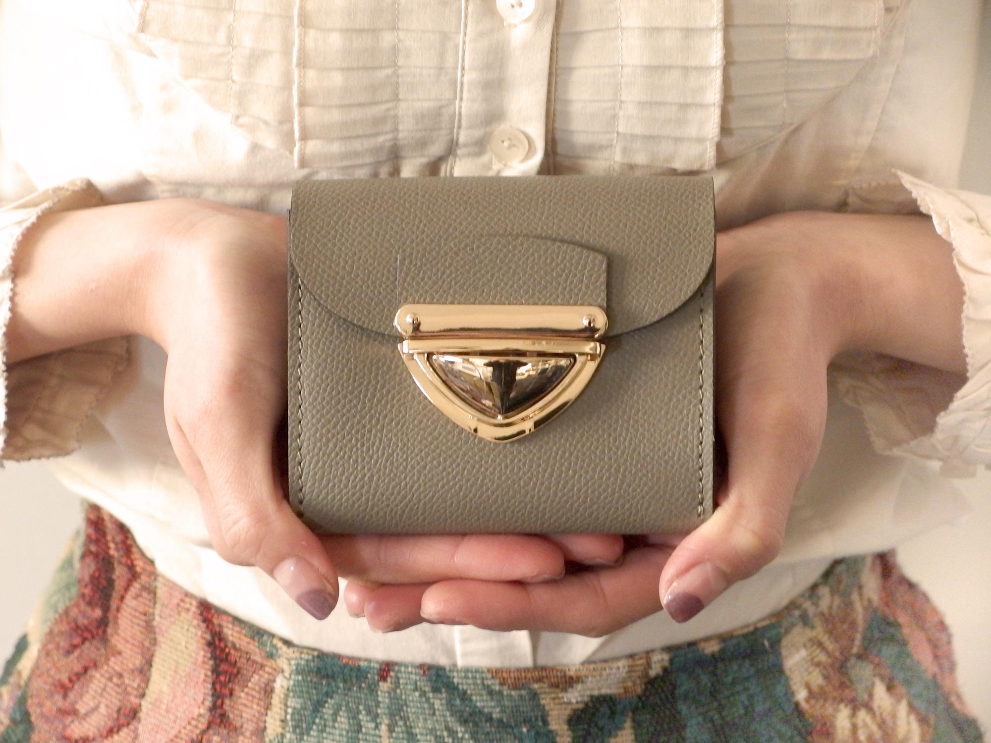 【限定色】身軽にキメたい時のコンパクト財布|P式パーティーレザー・グレージュ
