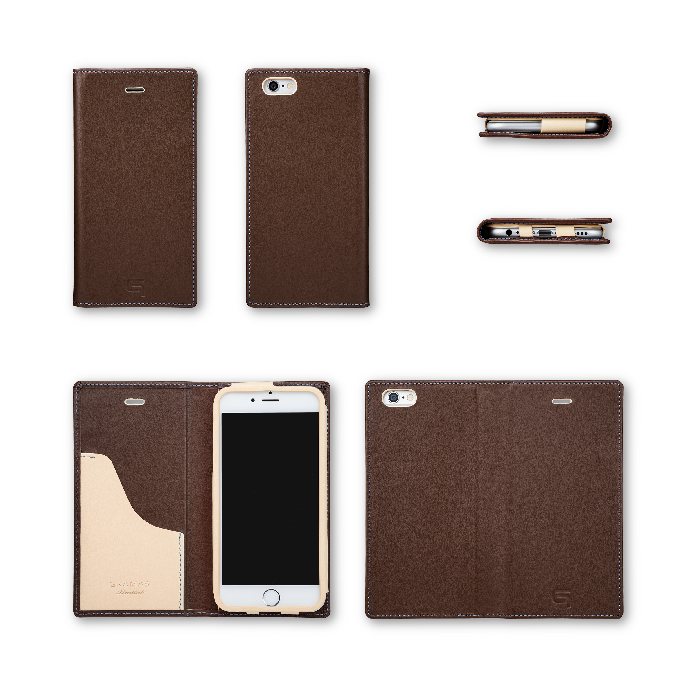 GRAMAS Full Leather Case スマホ堂 Limited for iPhone6s/6 Brown×Cream×Light Blue - 画像5