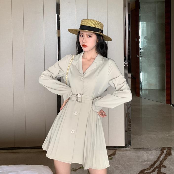 【ワンピース】ファッション無地長袖カジュアルワンピース25054481