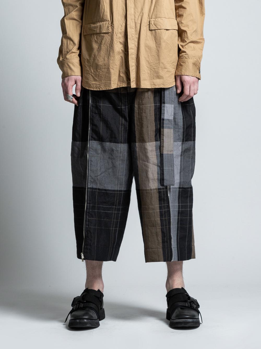 VI-3025-04 / ランダムチェック サイドジップ 袴パンツ