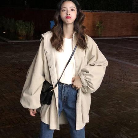 【送料無料】可愛いシルエットのバルーン袖♡ ジャケットシャツ ミディ丈 オーバーサイズ