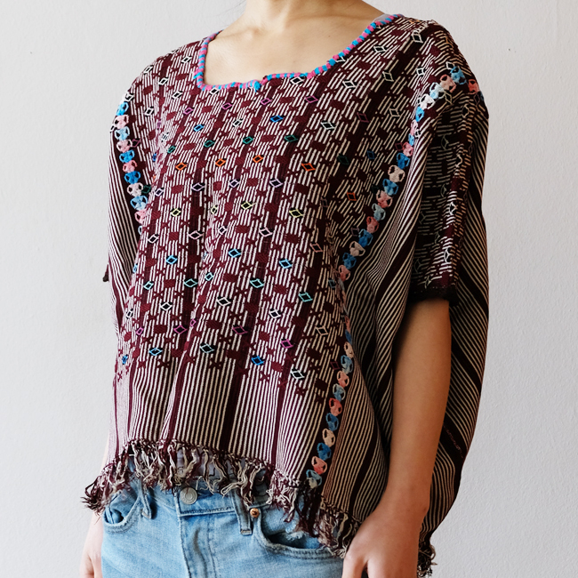 カラフル織りのウィピル /292a/ GUATEMALA グアテマラ
