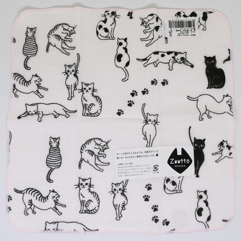 猫ハンカチ(ネコがいっぱい)