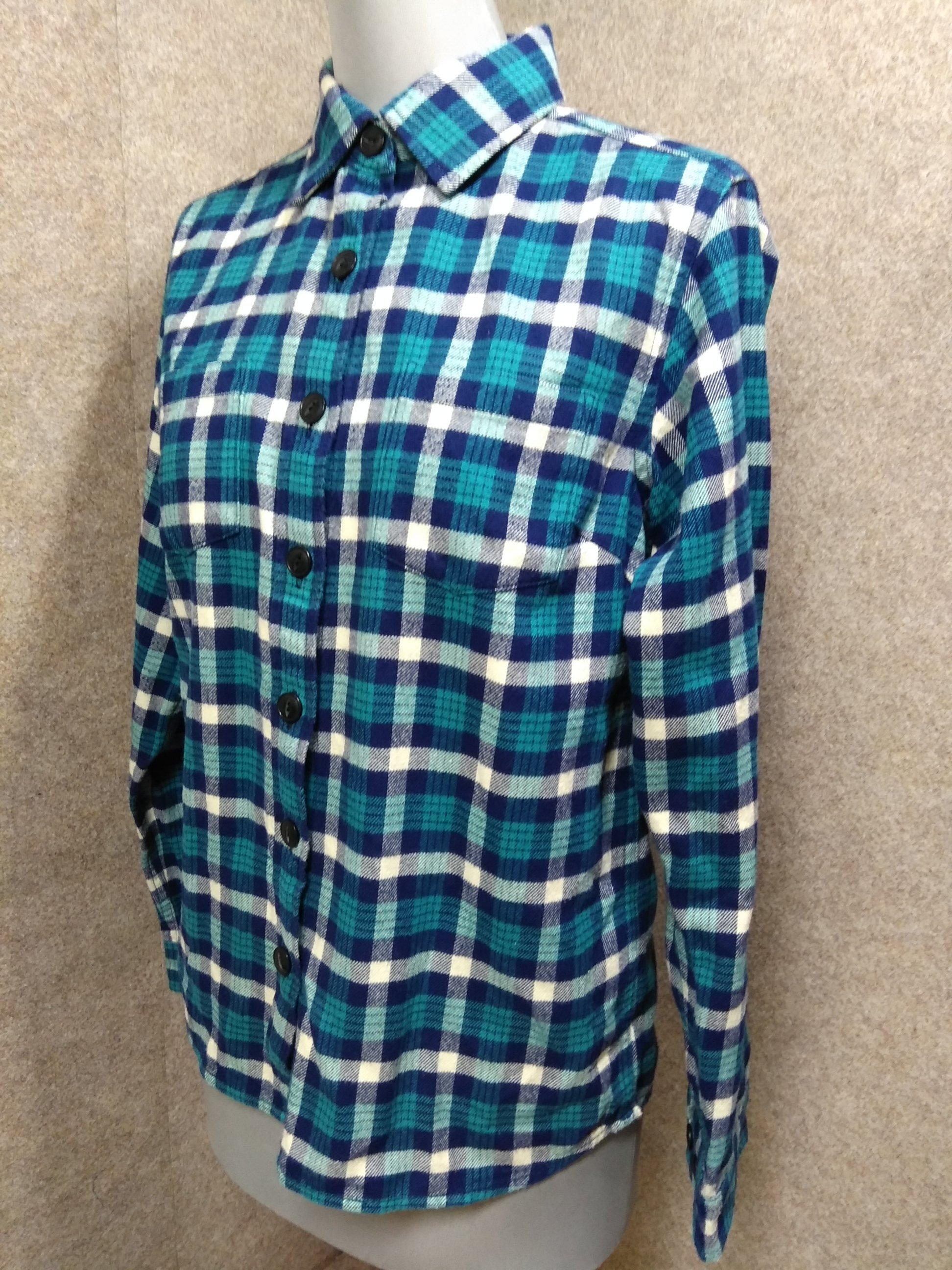 ザ・ノースフェイス チェック ネルシャツ S 青緑系 厚手 u1222a