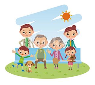 イラスト素材:ベンチに座る3世代家族(ベクター・JPG)