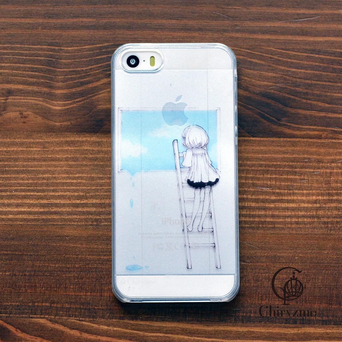 【BASE店限定】アイフォンse ケース クリア iPhoneSE クリアケース キラキラ かわいい 新生活 虚けた空/Chiryzmo