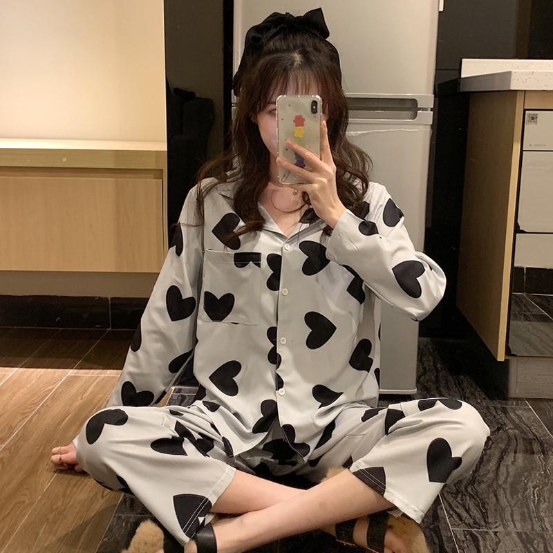 【パジャマ】目を奪われるプリント切り替えパジャマ・長袖セット34333643