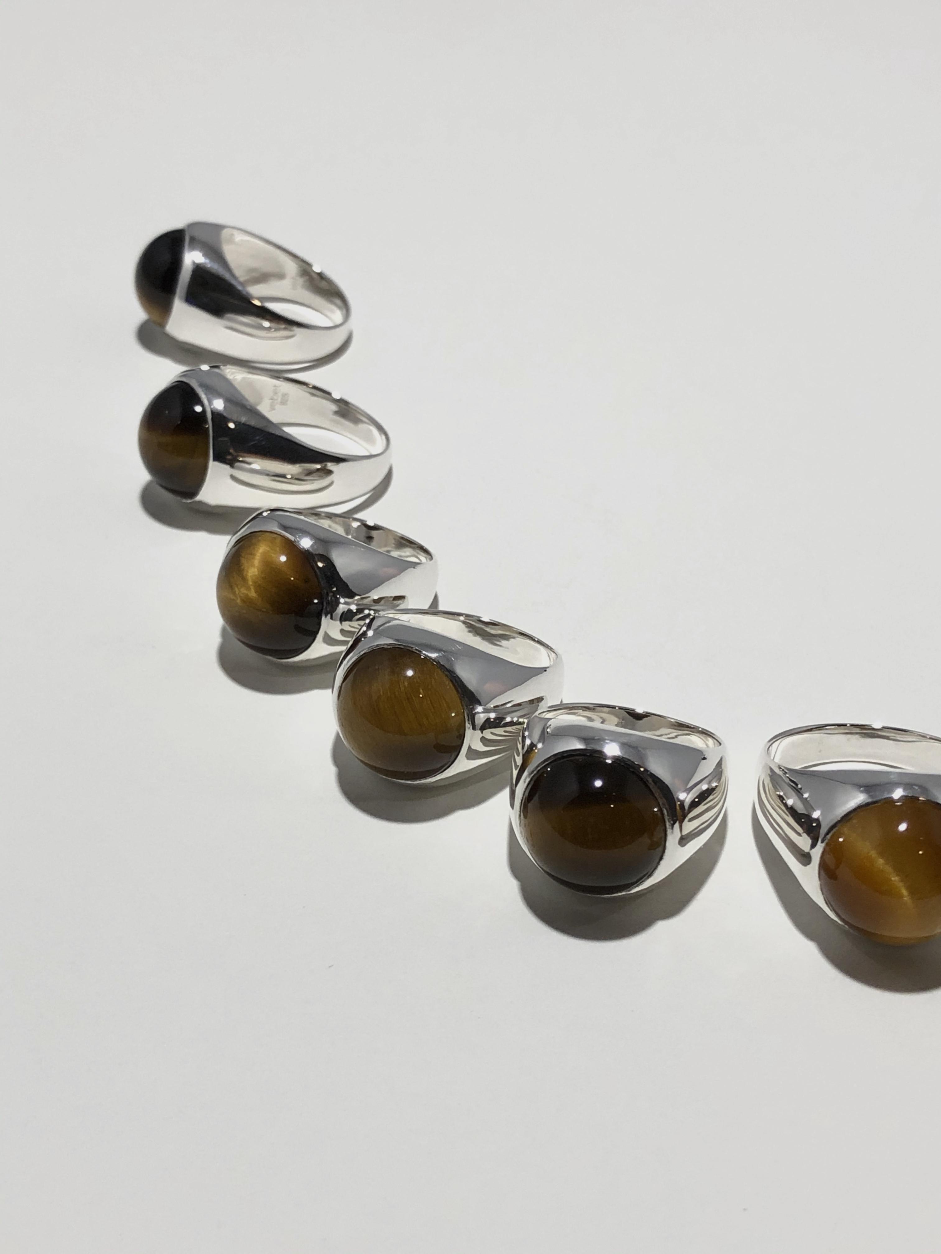 tiger eye gem wide ring (再入荷)
