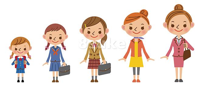 イラスト素材:女性の成長・世代イメージ(ベクター・JPG)