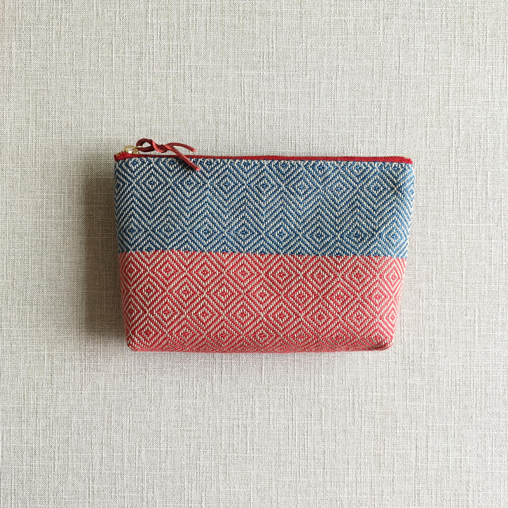 Make up Bag  Indigo Blue&Red