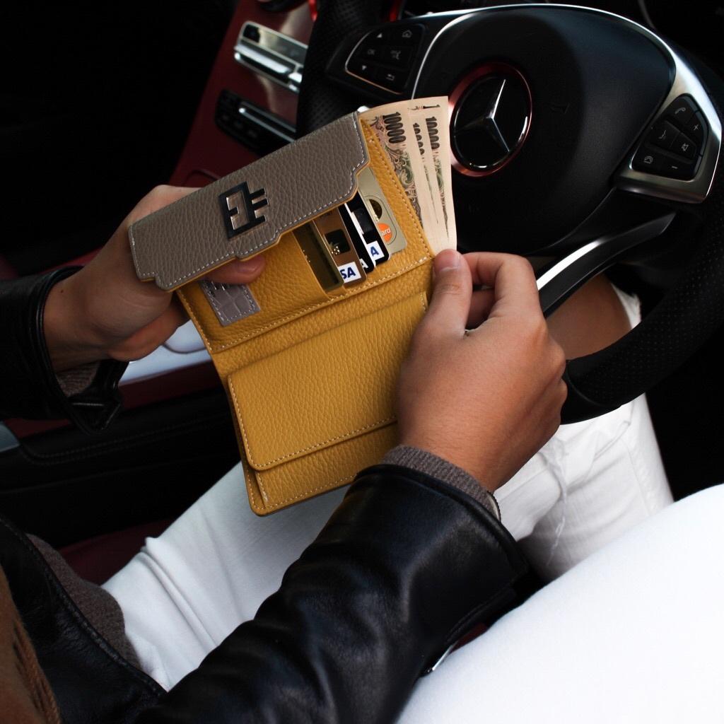 Italian EK Wallet【Etoupe/mustard】
