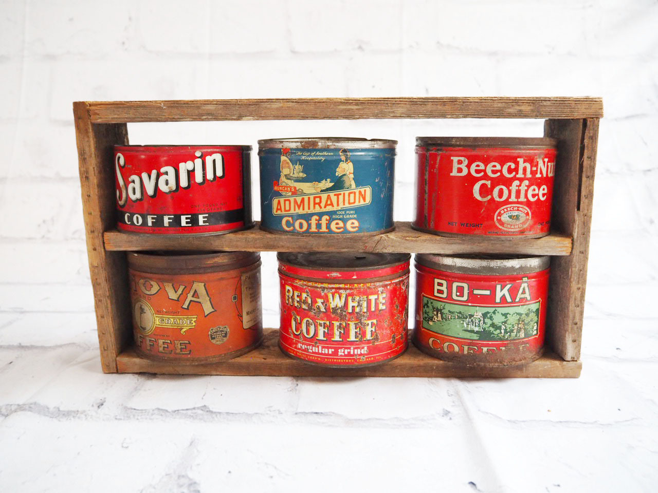 品番2473 アメリカ製 コーヒー用 缶ケース ラック付 ヴィンテージ