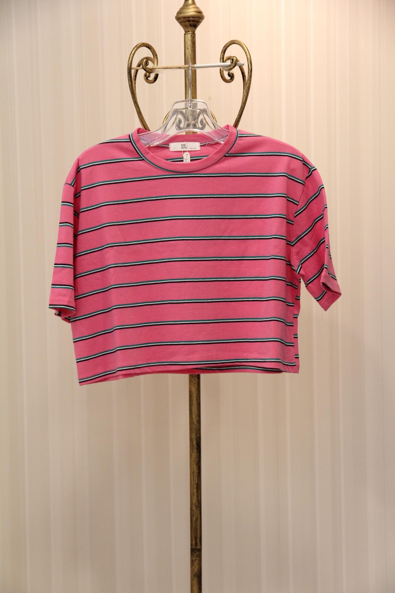ピンクホワイトストライプTシャツ 1-116