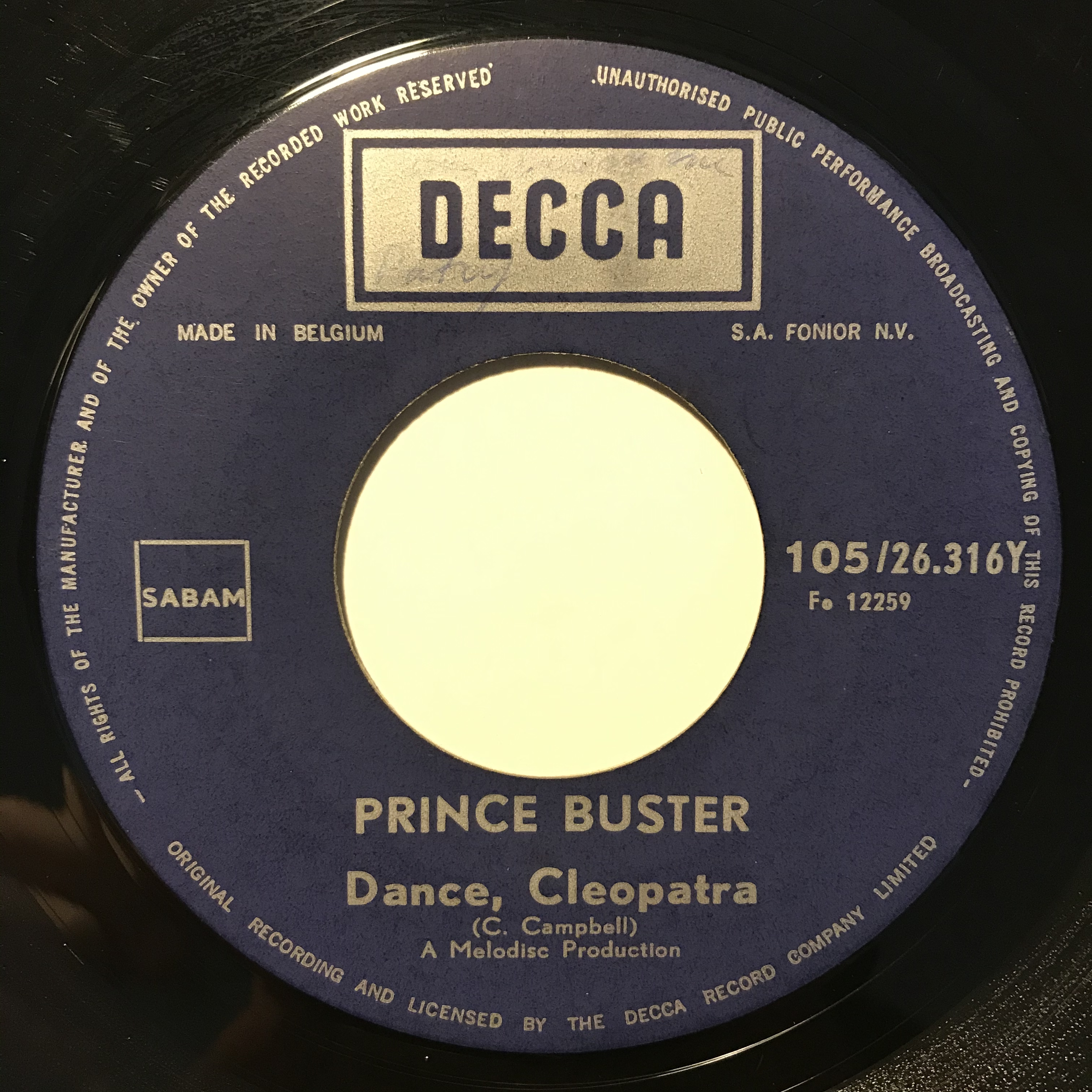 Prince Buster - Dance Cleopatra【7-10840】