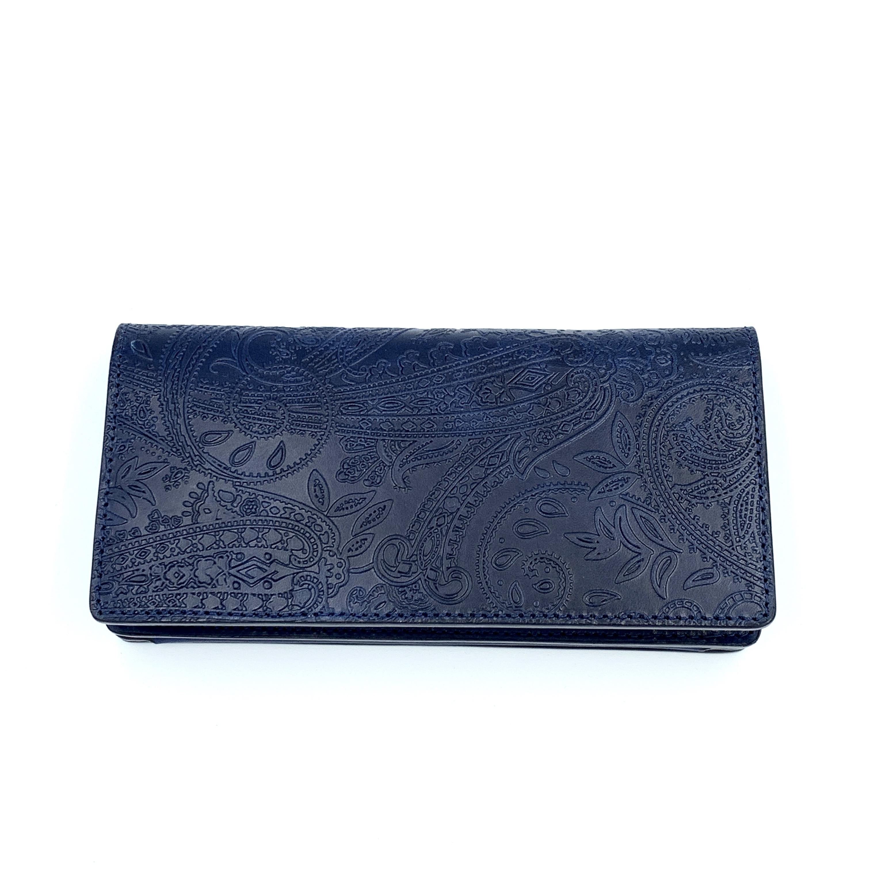 YONZY 二つ折り長財布 ペイズリーエンボスレザー ROYAL BLUE  YZLW TYPE1