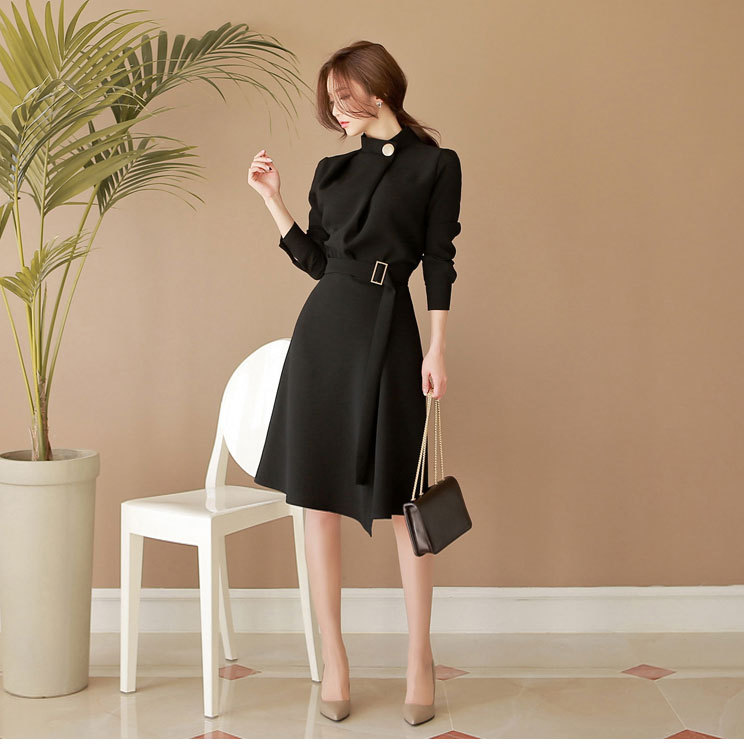 ☆七分袖巻きスカート風ドレス☆ブラック