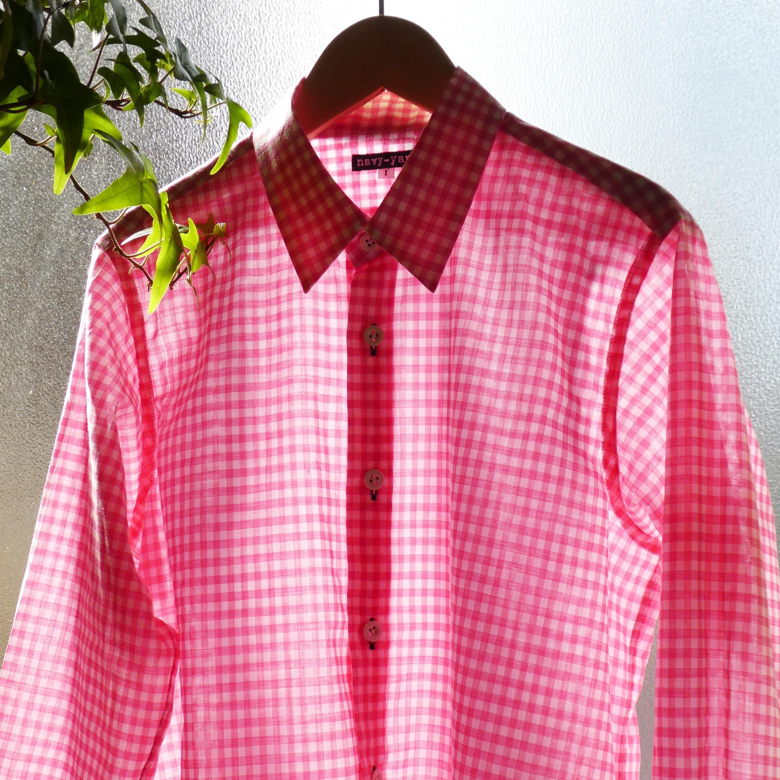 しなやかコットン/レーヨン ギンガムシャツ narrow