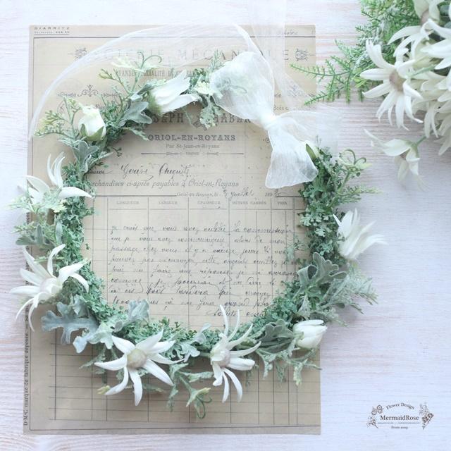 フランネルフラワーの花冠とブートニア*サテンリボン