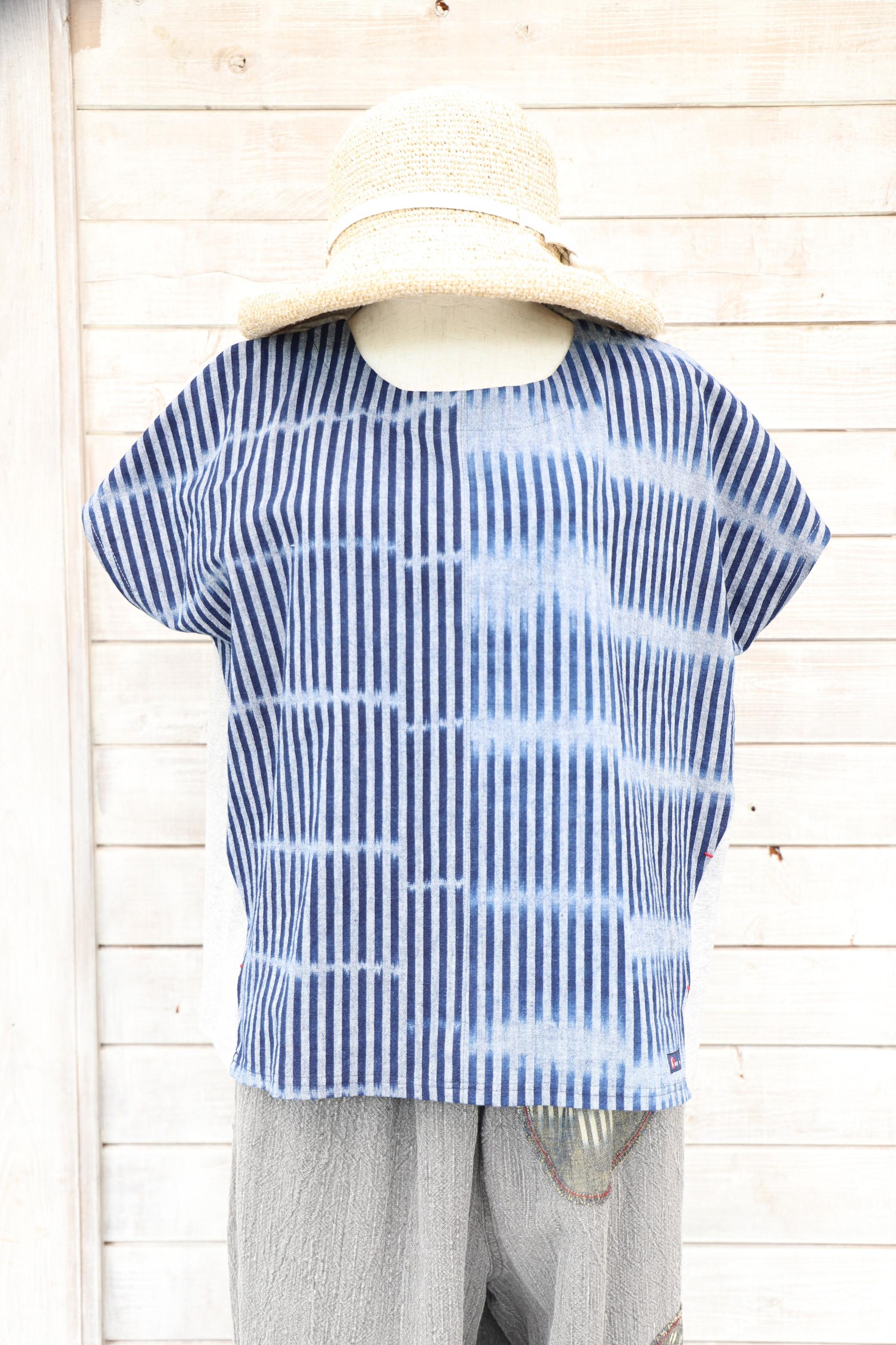 ブラウスTシャツ BL27 藍染絣柄(K51)×グレー