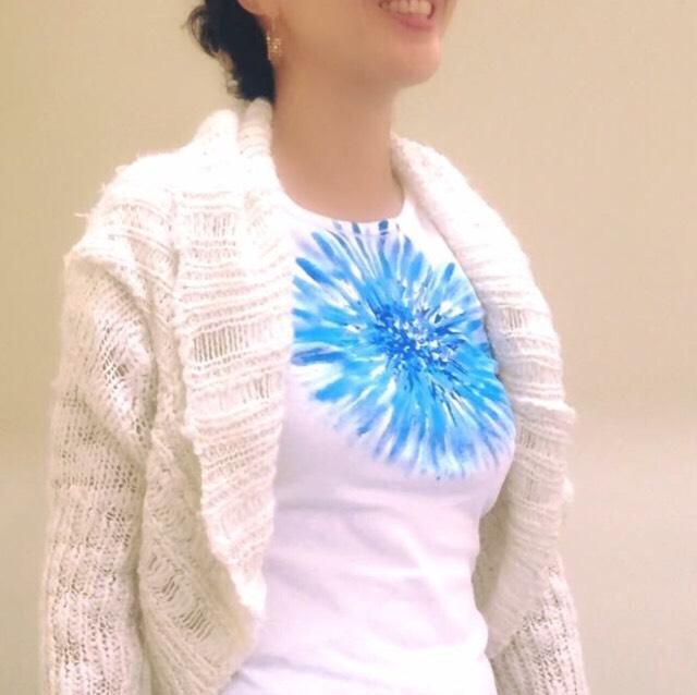 花シリーズ  ダリア~こころの太陽~ブルー  手描きTシャツ