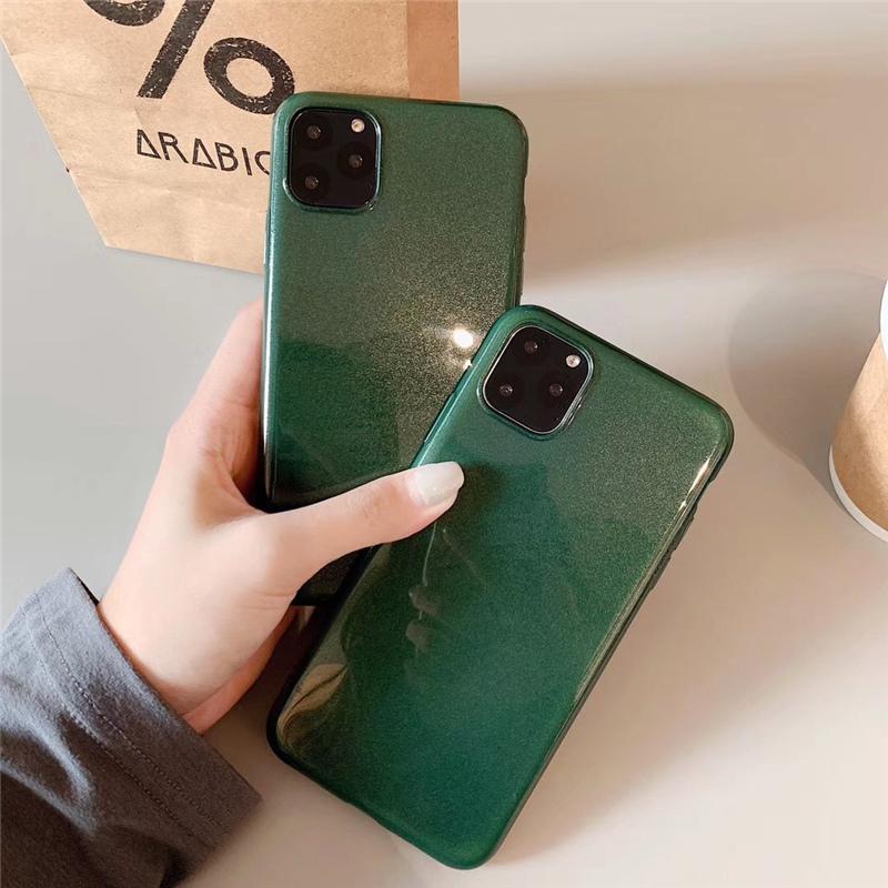 【お取り寄せ商品、送料無料】シンプル グリッター グリーン ソフト iPhoneケース