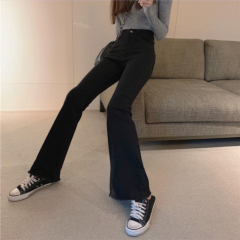 「ボトムス」ファッションハイウエストカジュアル合わせやすい2色レギュラーデニムパンツ