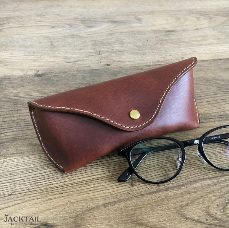 眼鏡ケース Mサイズ/オイルレザー 牛革(茶)