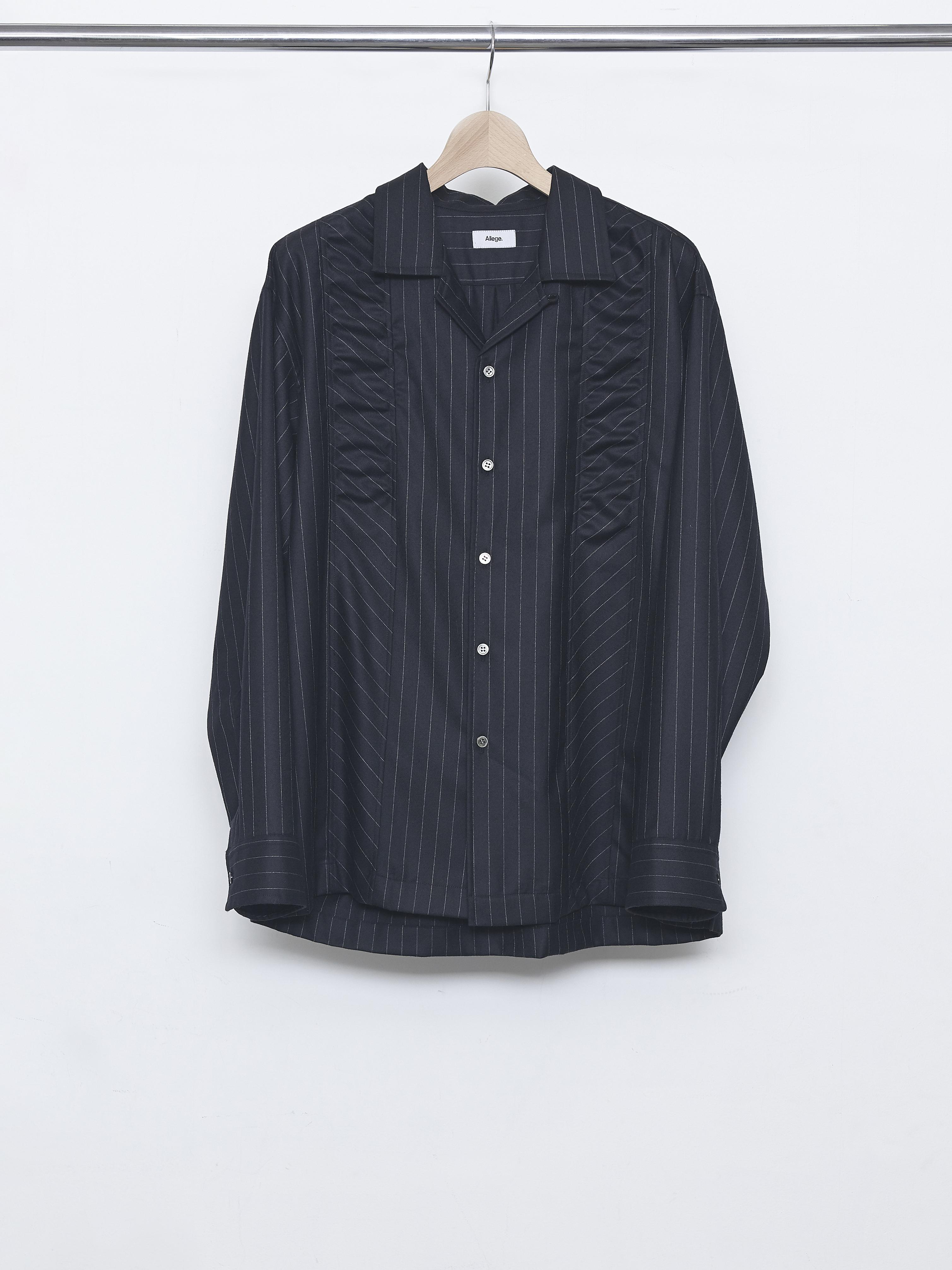 Gather Stripe Open Collar Shirt