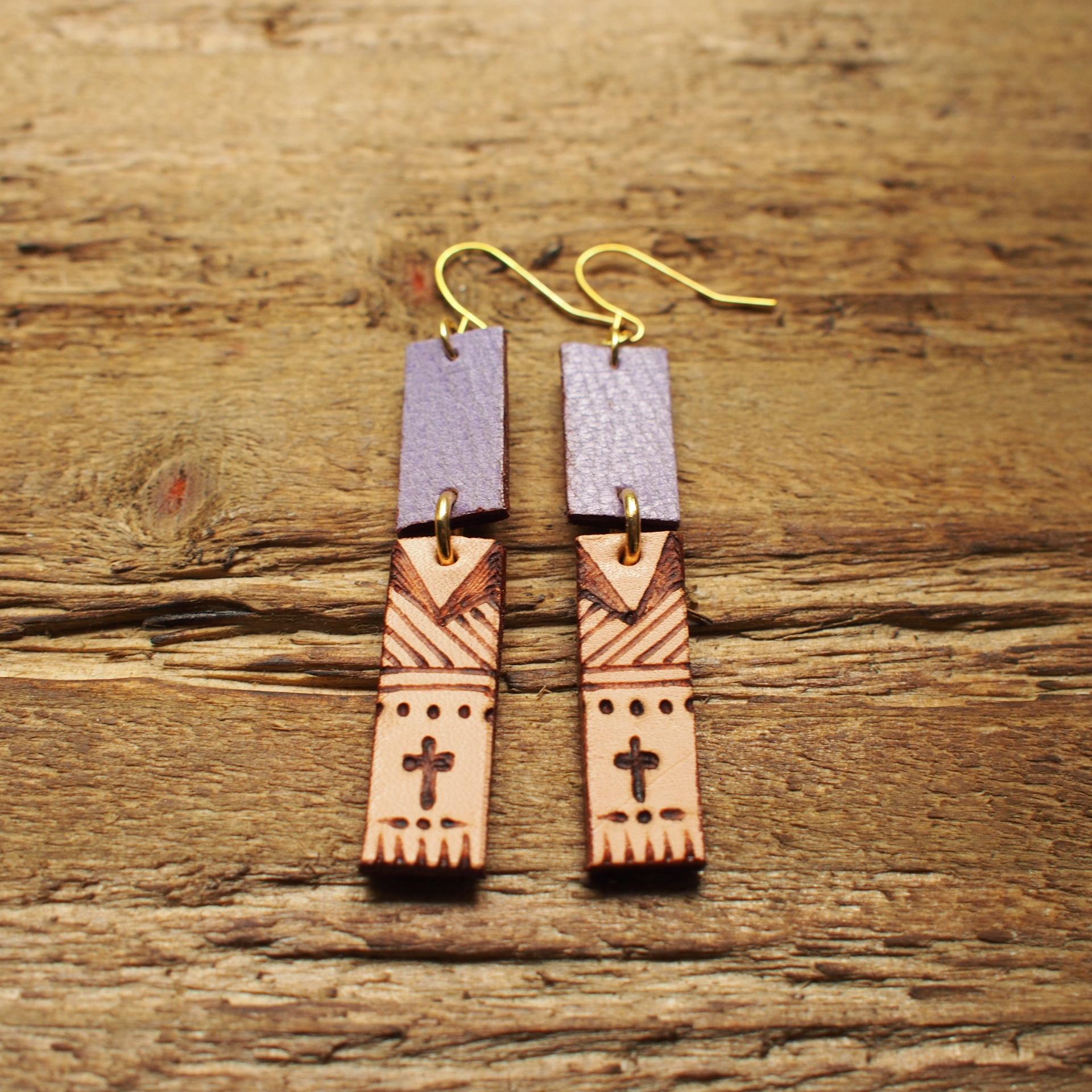 Burning Leather Art Pierce -Cross- / Purple