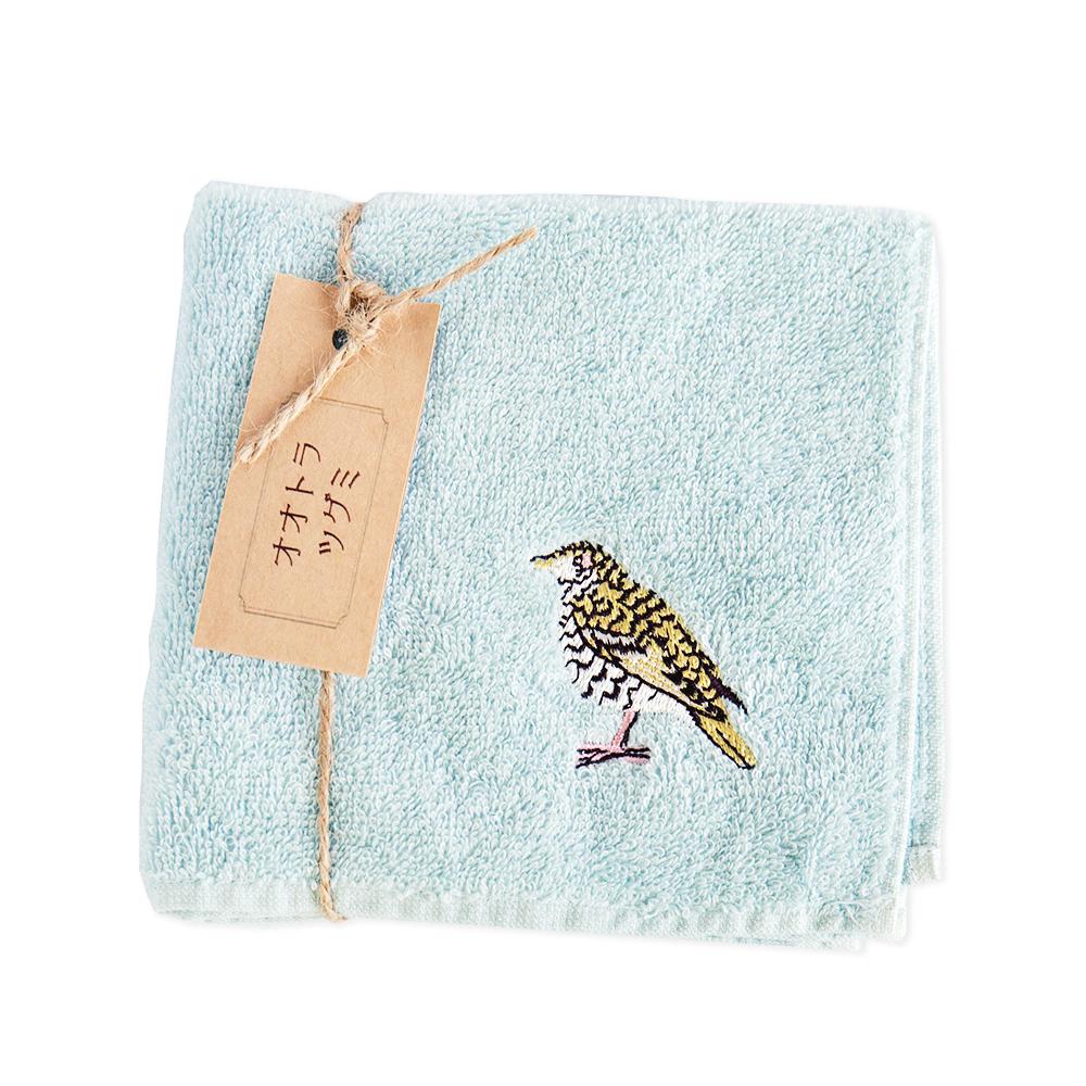オオトラツグミ刺繍のタオルハンカチ|今治タオル