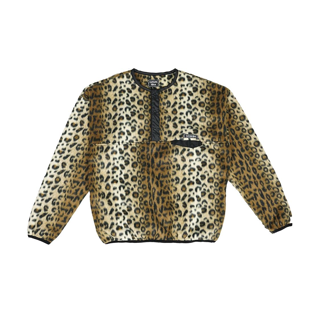 CAPTAINS HELM #Leopard Fleece Snap Tee