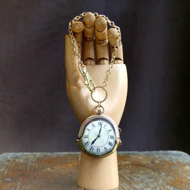 【受注製作】時計がま口 バッグチャーム(直径5cm) ローマ数字金時計 - 金星灯百貨店