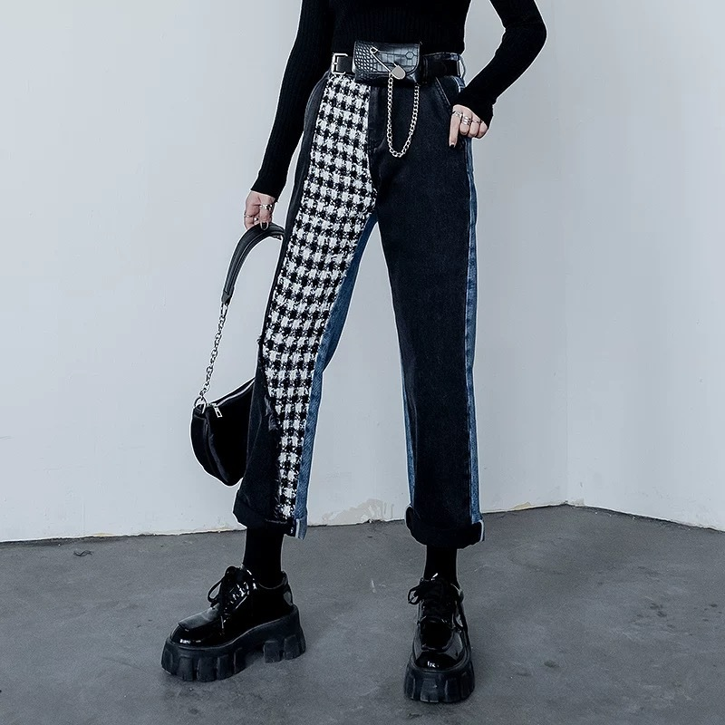 one side check pants