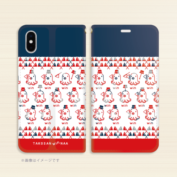 A*iPhone X/XS/6/6s/7/8*19-19NETYo*たこさんwinなーのベルトなし手帳型スマホケース