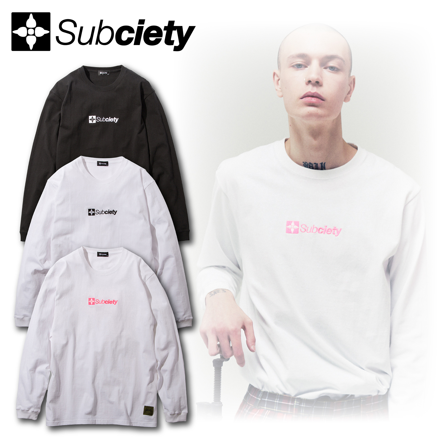Subciety(サブサエティ)   EMBROIDERY THE BASE L/S
