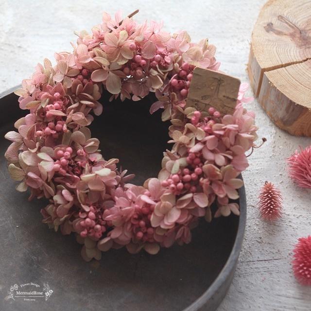 シャビ―リースミニ*アジサイ&ペッパーベリーシャビ―ピンク
