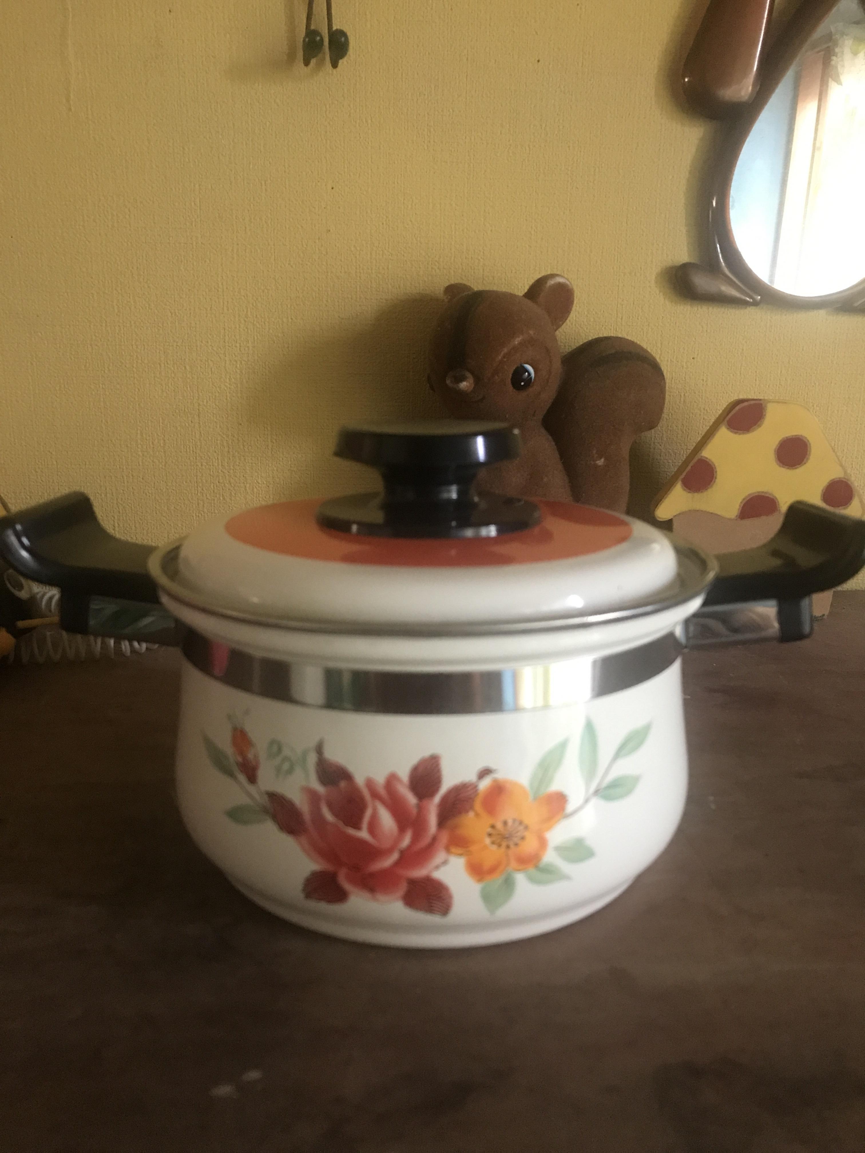 レトロ 小さなホウロウ両手鍋