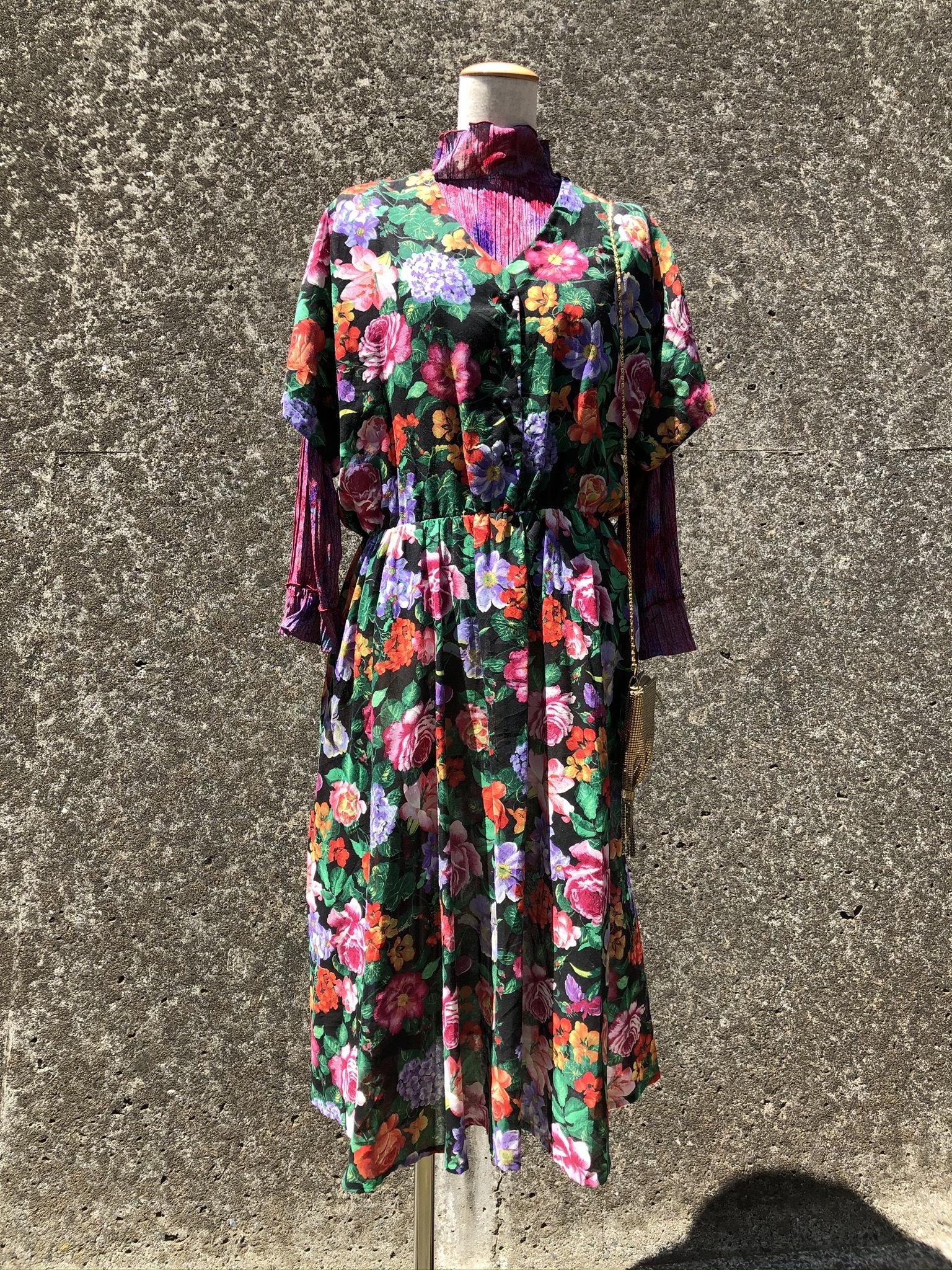 flower printed sheer dress