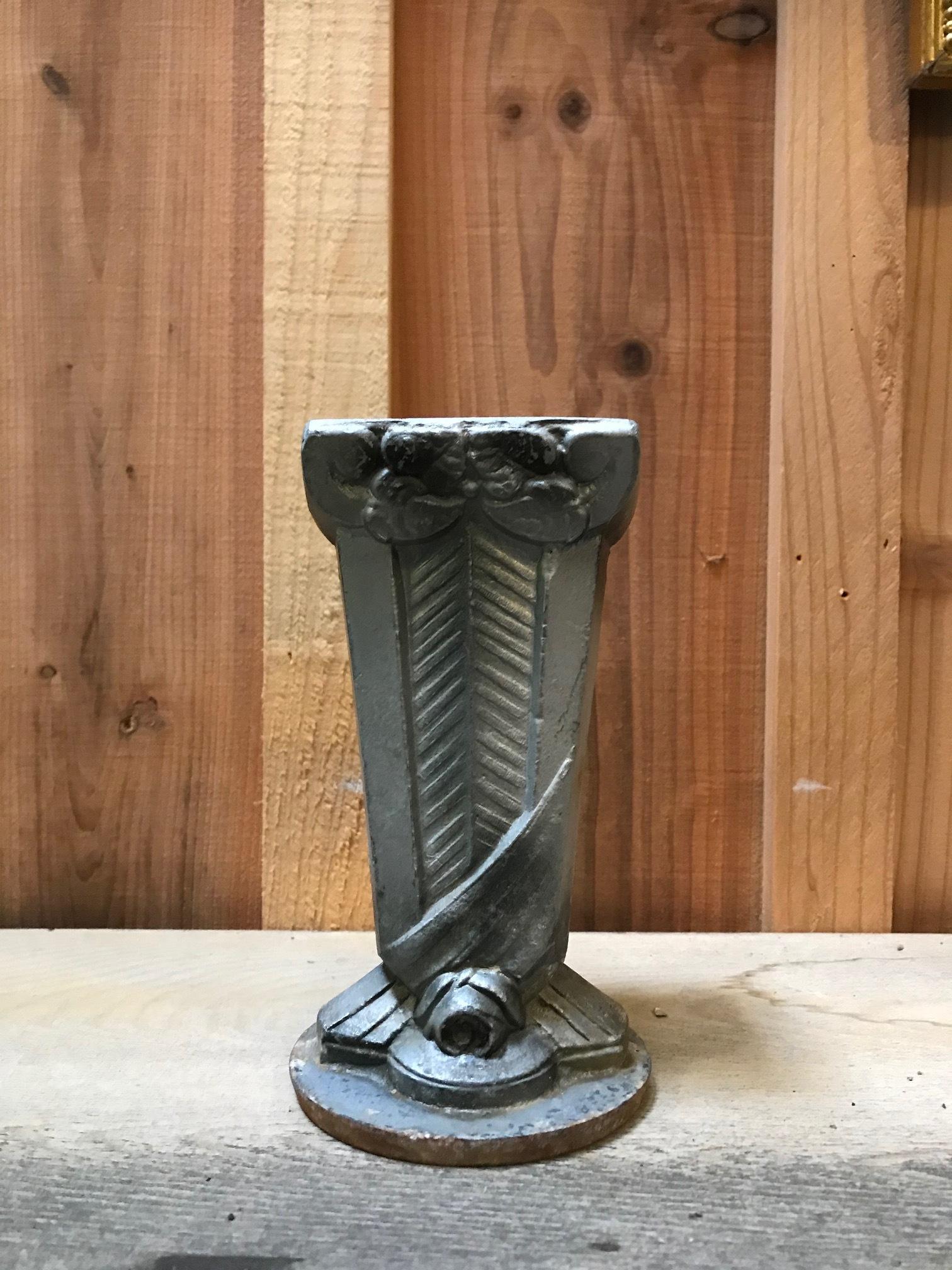 1920年代 フランスアンティーク 鉄製 花瓶 アールデコ C
