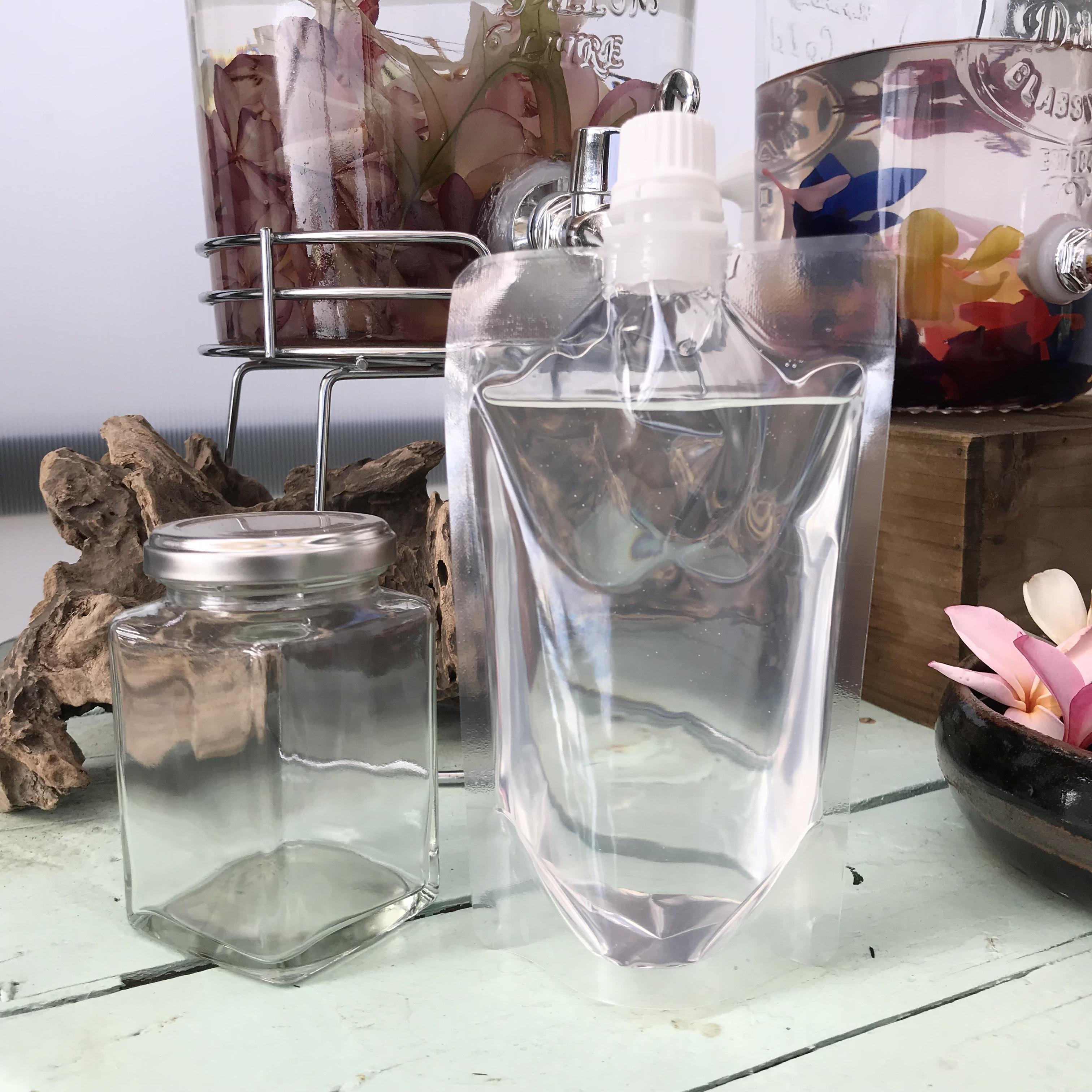 【ハーバリウム製作キット】ハーバリウムオイルと角形グラスボトルのセット(200mlの広口ビン)