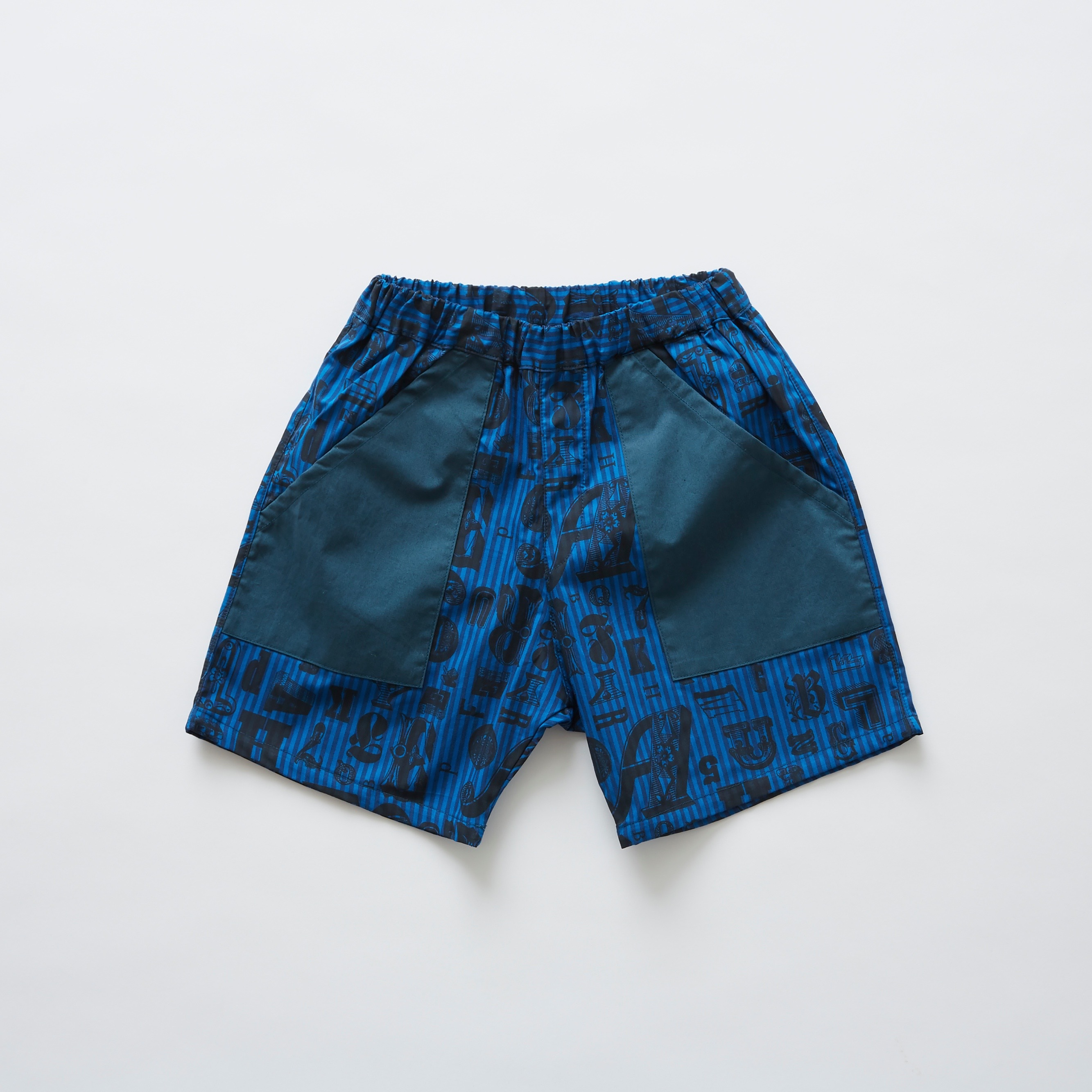 《eLfinFolk 2019SS》stripe × alphabetic print shorts / blue / 80-100cm