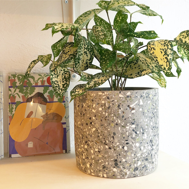 "Cement flower pot cover /FARM""Marta"" 鉢カバー(Gray) φ17cm×H16cm"