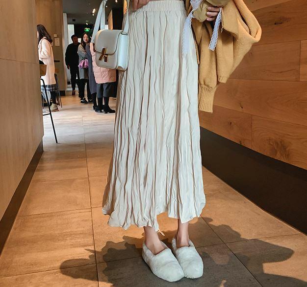 【送料無料】 ぬけ感あるコーデに♡ リネン ハイウエスト メッシュ ロングスカート