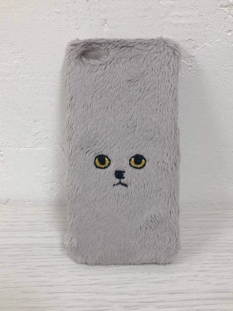 【iPhone5/5s/SE専用】ネコハードケース グレーゴールドアイ