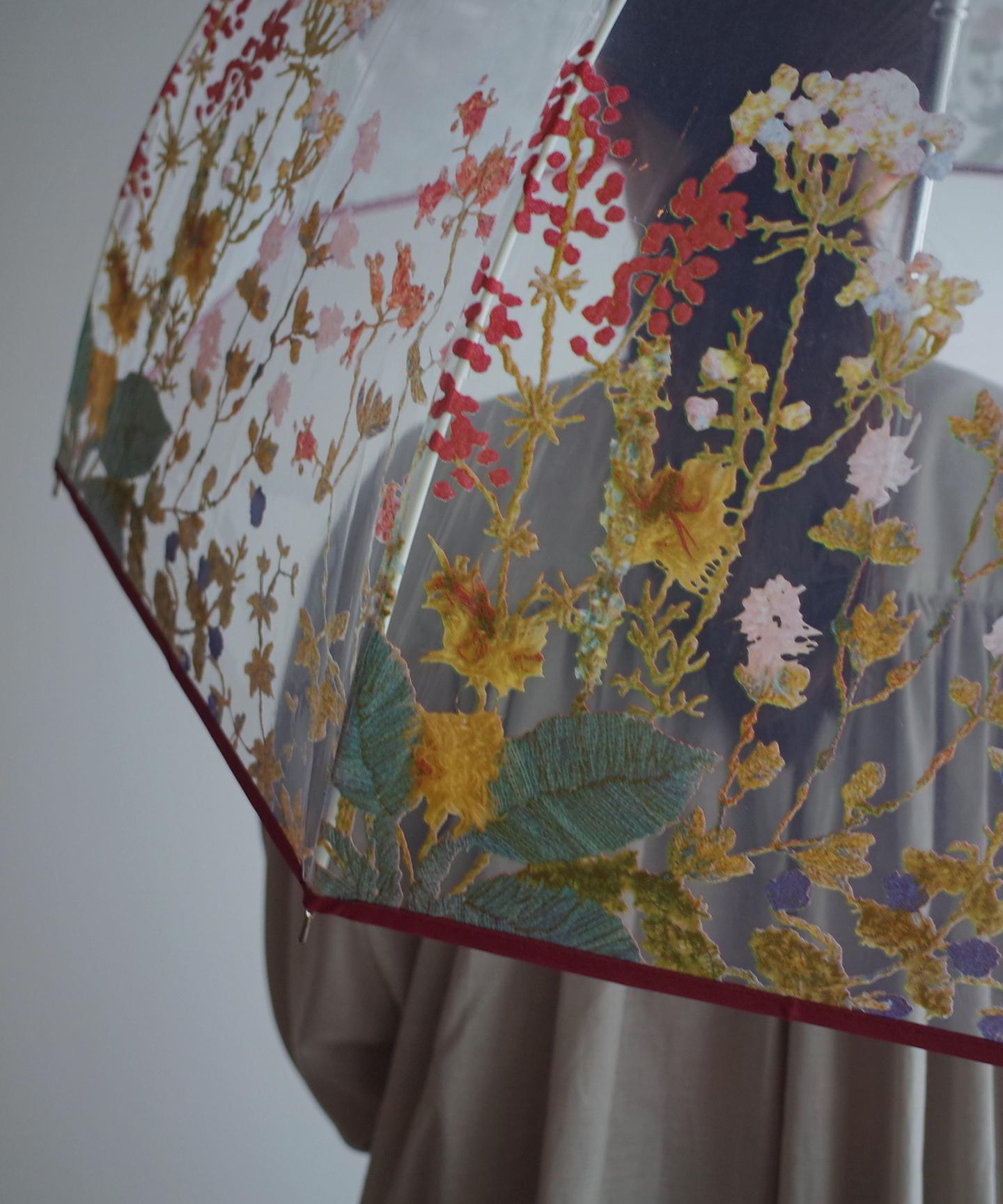 刺繍花柄プリントビニール傘  evh001  RED