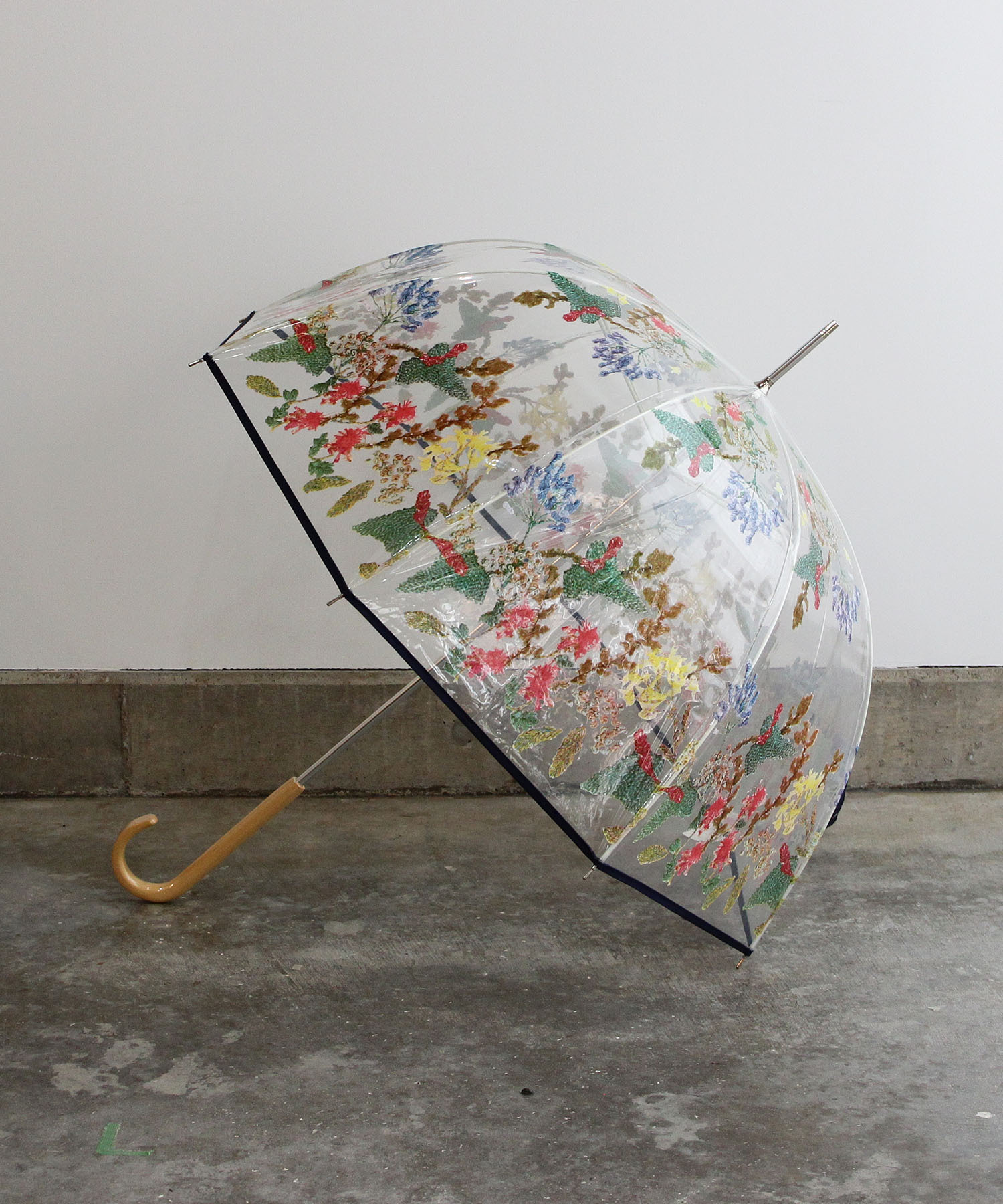 刺繍花柄プリントビニール傘  evh001  NVY