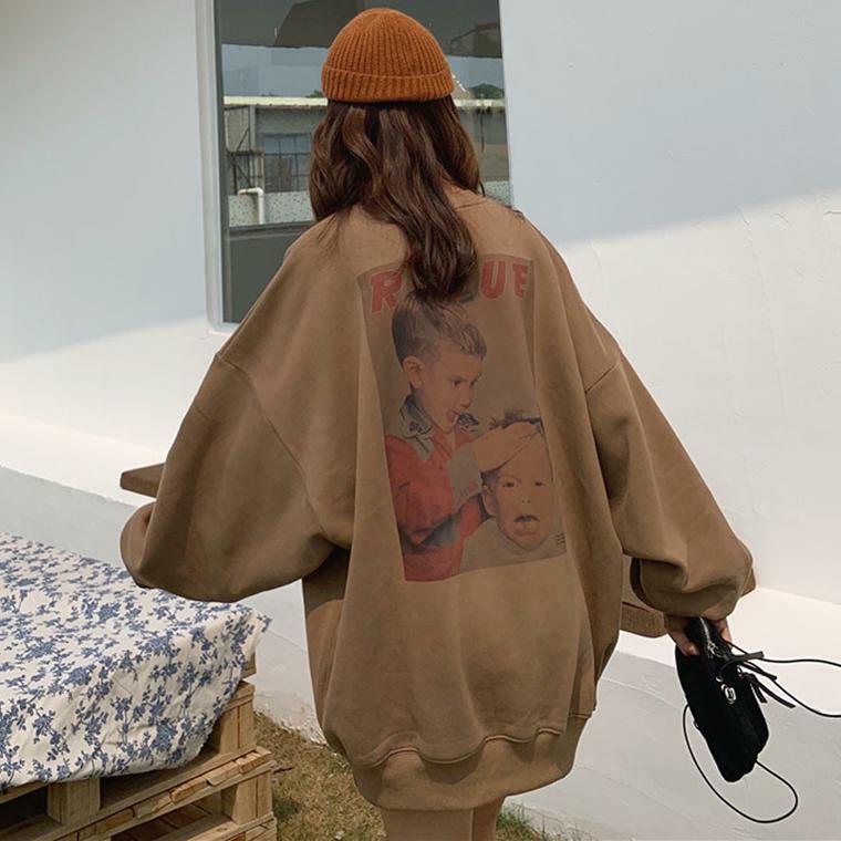 【送料無料】 メンズライク♡ ゆるだぼ バッグプリント ロゴ オーバーサイズ ビッグシルエット 長袖 トップス ストリート系