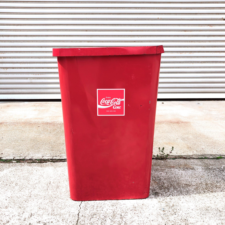 品番0376 Coca-Cola コカコーラ ゴミ箱 ダストボックス コークレッド スチール製 インテリア ディスプレイ ヴィンテージ