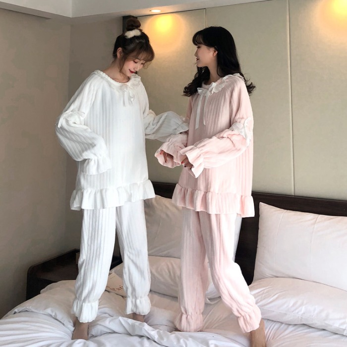【パジャマ】韓国系キュート長袖無地スウィートパジャマ25153101
