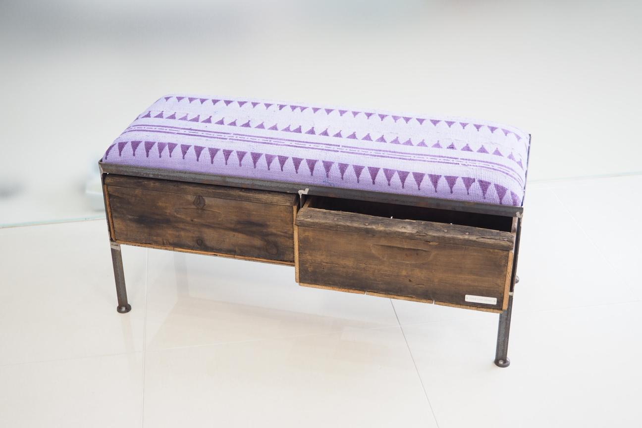 品番UAZ2-103  2drawer ottoman[nerrow/ African purple Tribal rug]